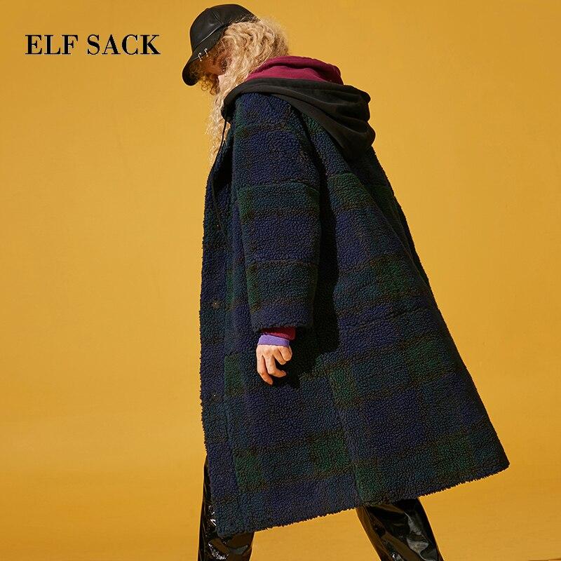 Kadın Giyim'ten Yün ve Karışımları'de ELF ÇUVAL Sonbahar Yeni Kadın yün paltolar Tam Uzun Ekose Düğme Cep Kadın Yün Ceket Geniş waisted Casual Gevşek Femme yün Karışımları'da  Grup 1