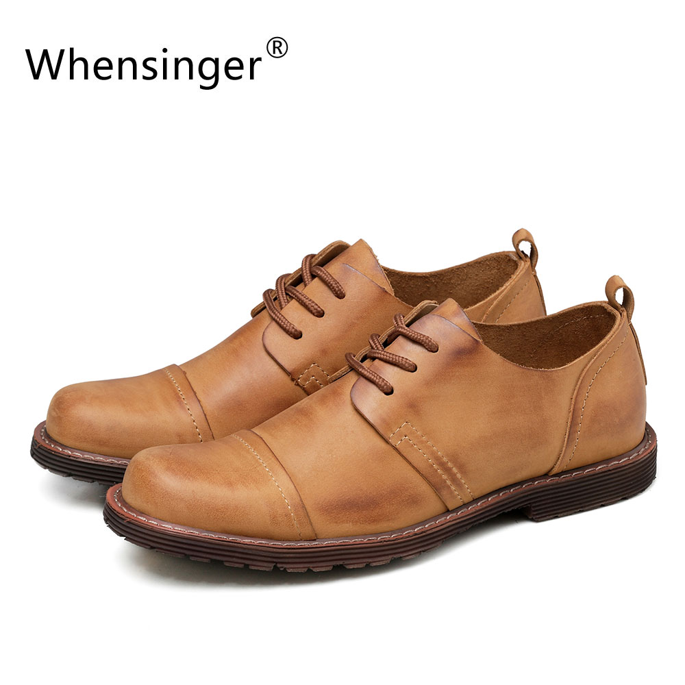 Whensinger - 2017 New Men's Genuine Leather Shoes Fashion Lace-Up Design 2310 whensinger 2017 new women fashion boots genuine leather fashion shoes rubber sole hands sewing 2 color 7126
