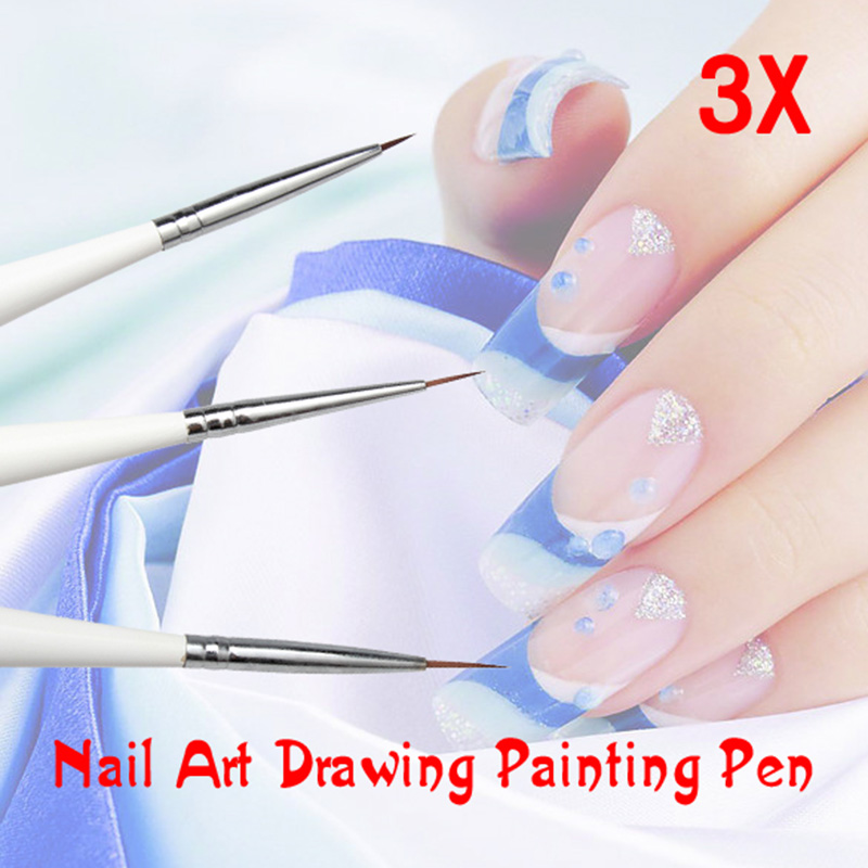 3 Pcs Nail Art Drawing Painting Pen Set Acrylic Nail Liner Tool 789