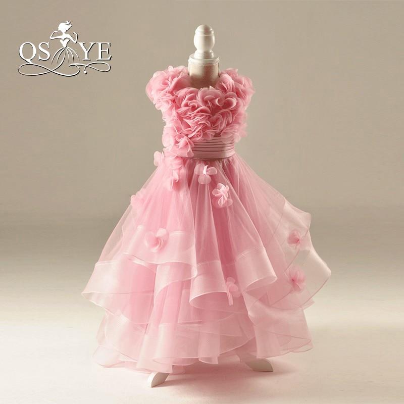 New Arrival 2018 Pink Flower Girls Dresses Puffy Ball Gown Handmade ...