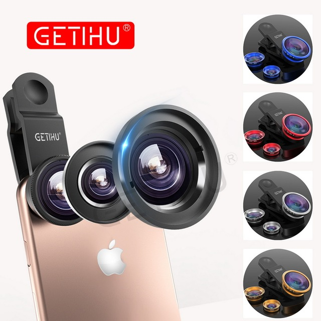 Universal 3 in 1 Wide Angle Macro Fisheye Lens Camera Mobile Phone Lenses Fish Eye Lentes For iPhone 6 7 Smartphone Microscope