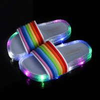 Crianças sandálias para meninas arco-íris cintas chinelos de bebê crianças verão ao ar livre led flash iluminado chinelo sapatos de princesa luminosa