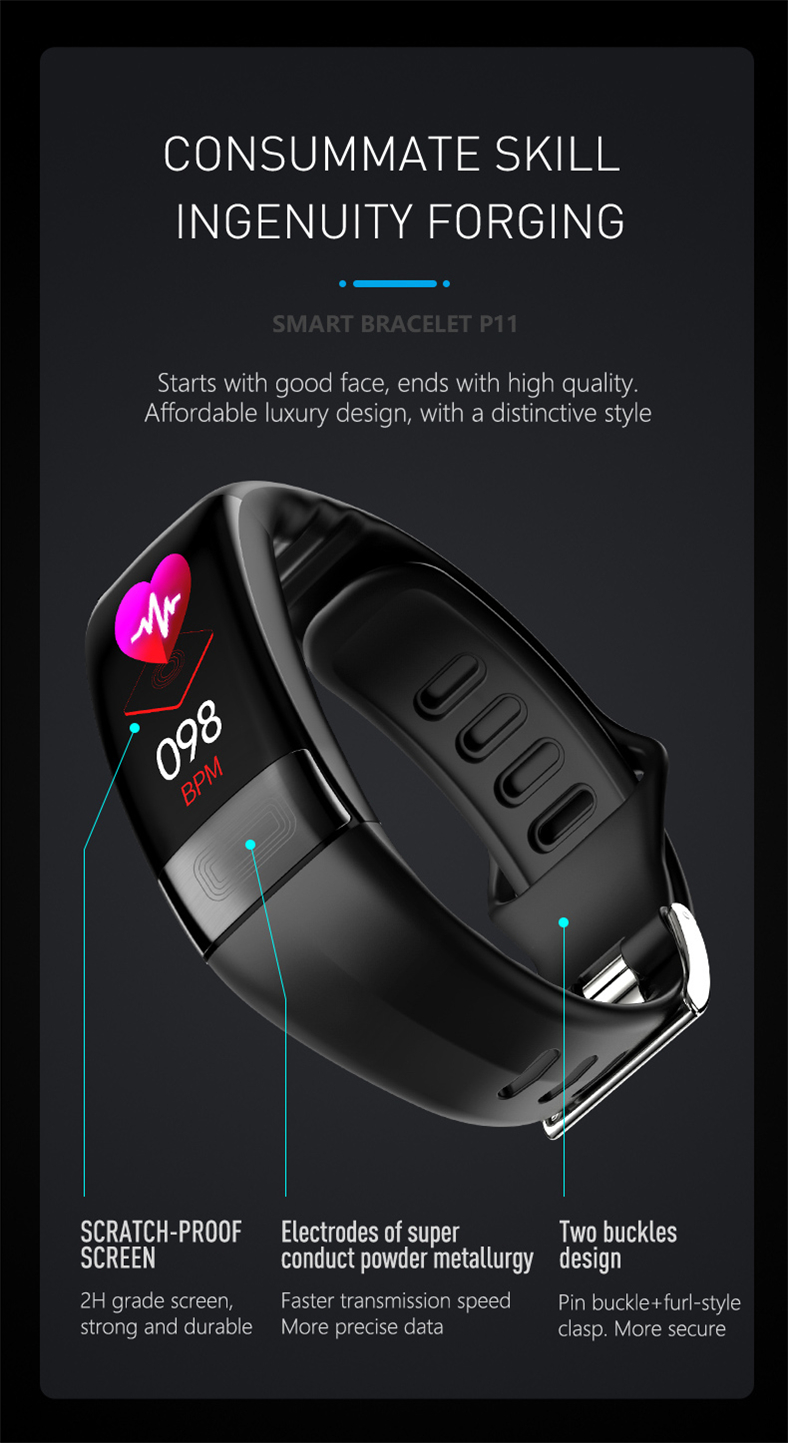 HTB1R0VoQjDpK1RjSZFrq6y78VXa3 P11 Smart Bracelet Sport Smart Watch Men Women Smartwatch ECG Bluetooth Wristband Heart Rate Monitor Call Message Reminder Band
