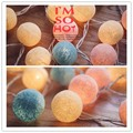 20pcs Cotton Balls 3*AA Battery Led Fairy String Lights Party Wedding Home Bedroom Camp Decor Thai style Portable Lamp