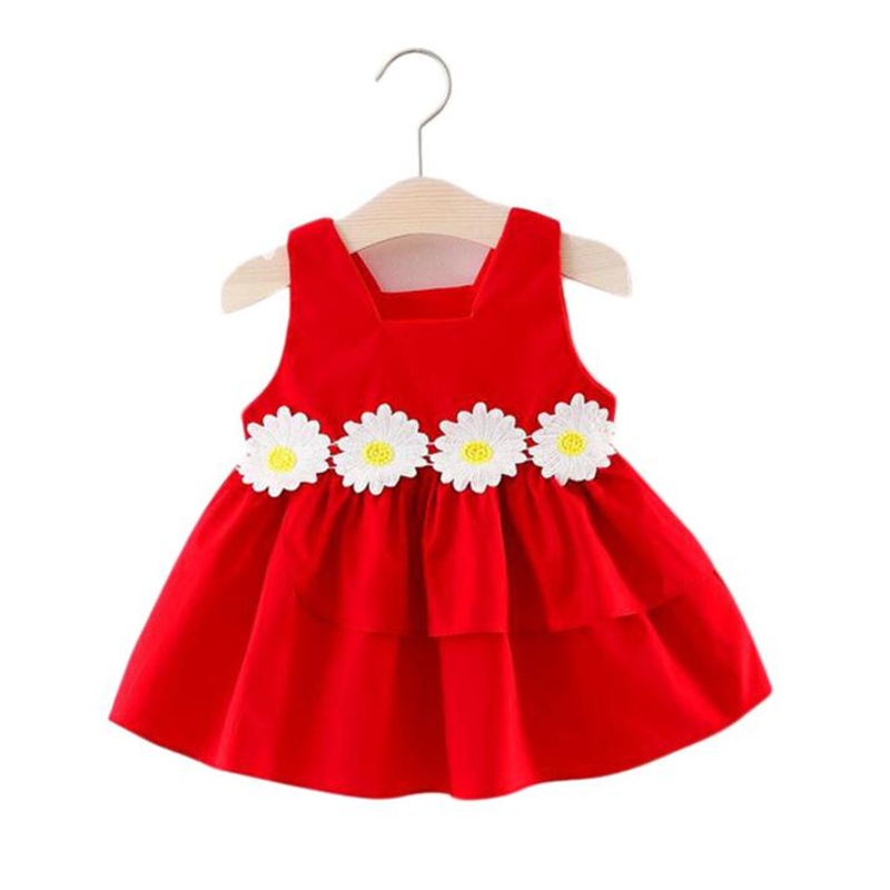 LILIGIRL Sleeveless Kids Vest Dress for Baby Girls Summer Clothes 2018 Toddler Princess Elegant Floral Party Beach Dresses