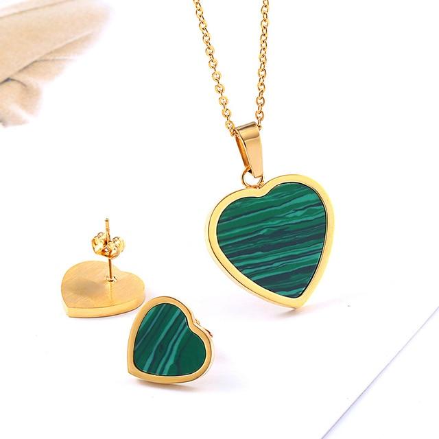 Wedding Green Stone Heart...