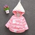 2016 moda bebê menina outerwear bonito polka dot princesa com capuz roupas casaco para o inverno macio e confortável