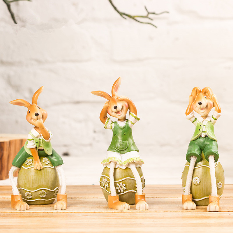 3pcs lot resin rabbit sitting on eggs pastoral small ornaments retro creative animal figurine decorative crafts easter decors(China (Mainland))