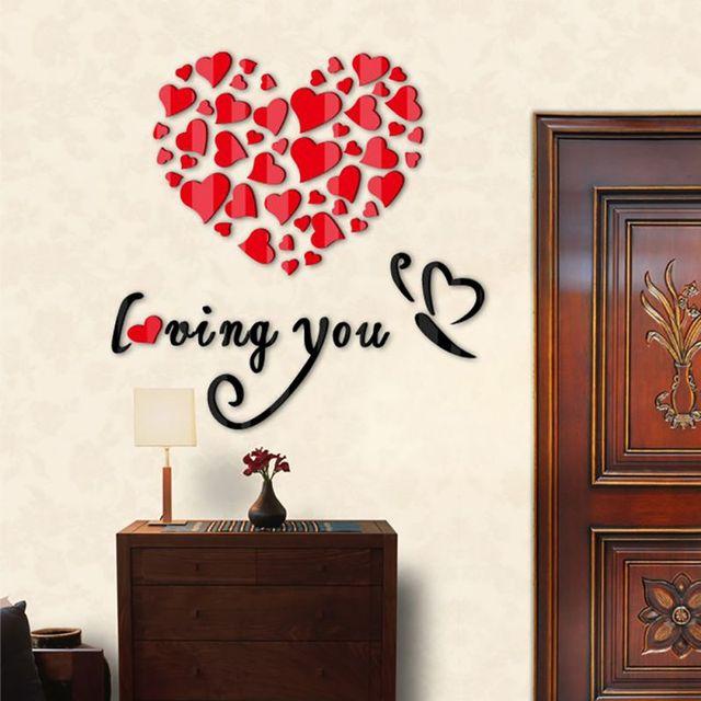 Elegant Romantic Wall Sticker For Valentineu0027s Day Decora O Para Casa 3D Acrylic  Love Heart Wall Stickers