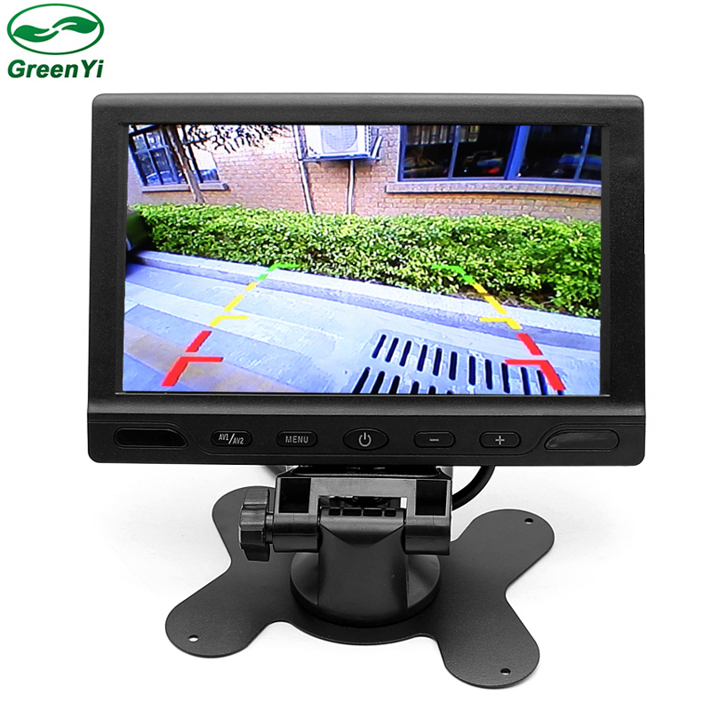 GreenYi T712 10pcs HD 7 LCD TFT Screen Car Parking Monitor With 2 Video RCA Input 7 Inch Parking Assistance Monitor
