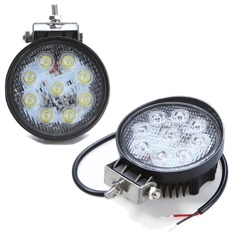 Free Shipping New 1755LM Flood Bright 6 9 LED 27W High Power Work Light Round ATV  Boat Offroad Fog DRL Headlight DC 10-30V 2x h7 499 high power 60w cob led headlight fog light drl white 6000lm error free ca229