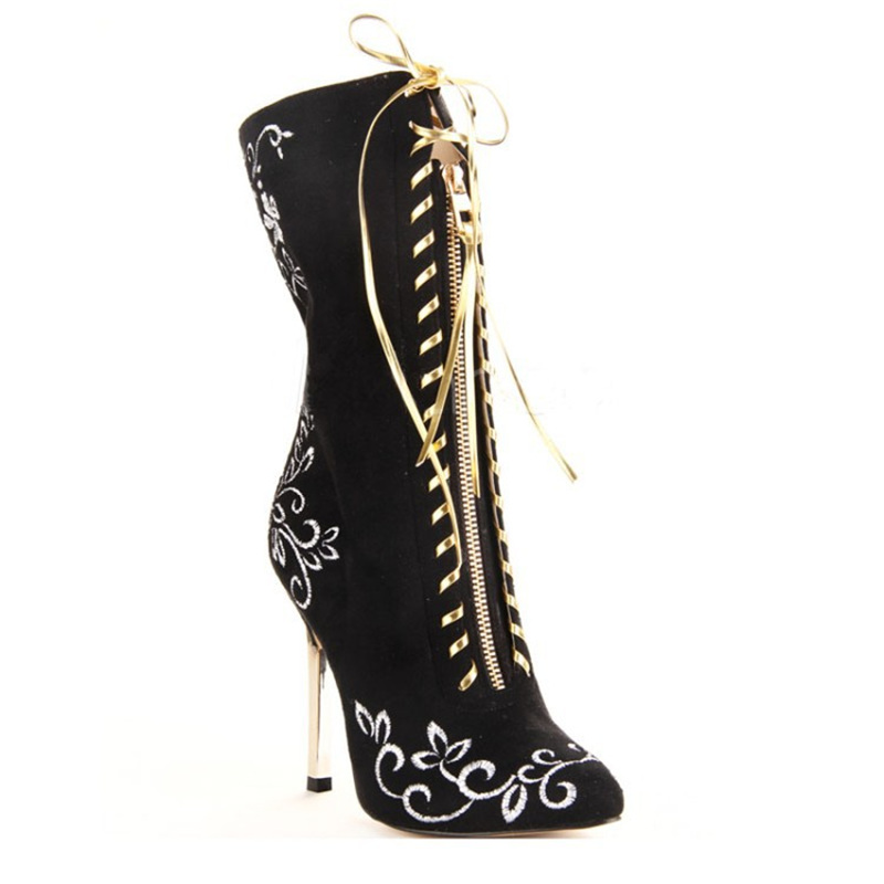 Botas As Tobillo Stiletto Tamaño Picture Zapatos Grandes Tacones Encaje Para Señaló Picture Moda as De Cm Bordadas Mujer Negro 11 Altos Elegante qwEqFUC