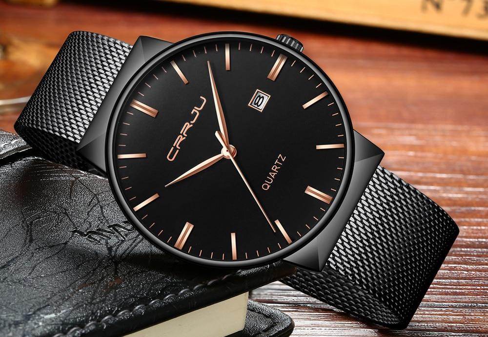 Luksusowa marka Black CRRJU Full Steel Quartz Watch Men Casual - Męskie zegarki - Zdjęcie 3