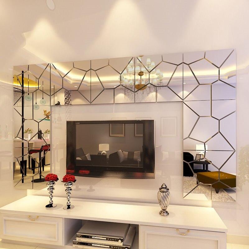 20*20 3D DIY Kunst Kristall Wandspiegel Aufkleber ...