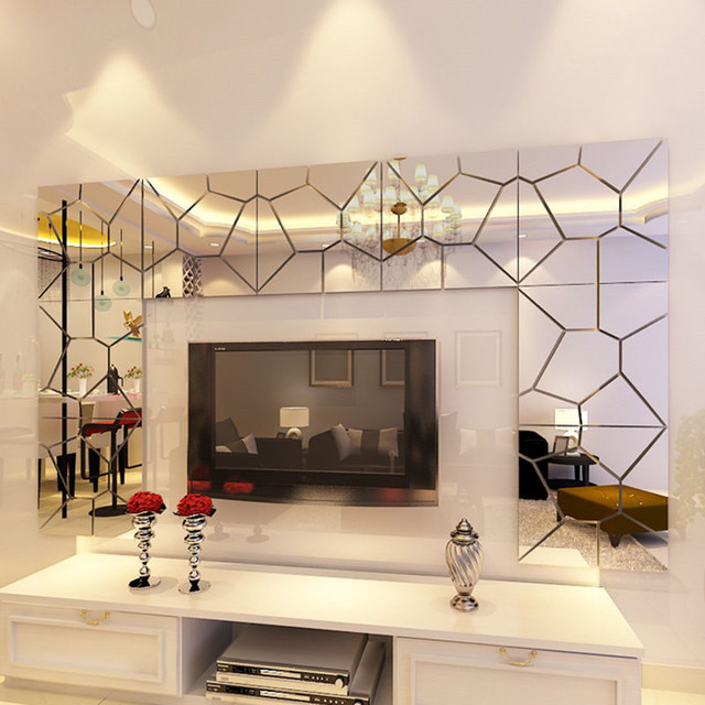 D Diy Kunst Kristall Wandspiegel Aufkleber Selbstklebende Acryl Tapete Moderne Spiegel Wandtattoos Fur