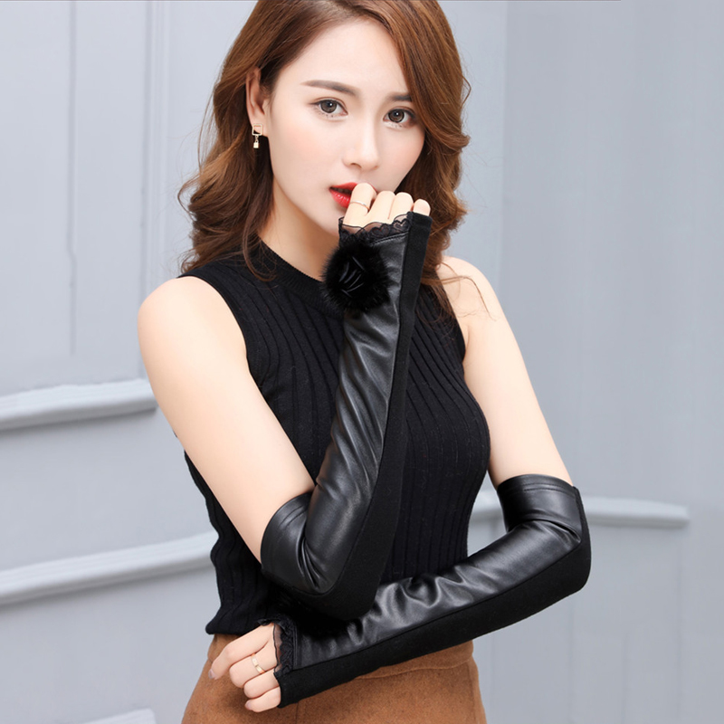 Wholesale New 2018 Real Sheepskin Gloves Winter Genuine Leather Cuff Long Arm Sleeve Half Finger Gloves Arm Lady Women