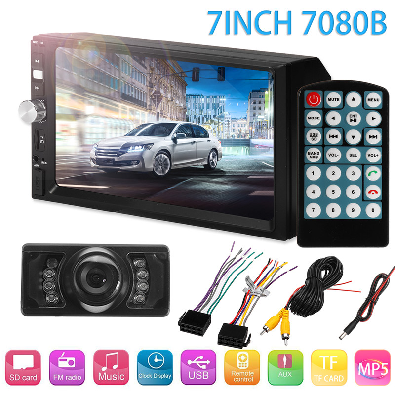 1Set HD 7Inch Auto MP5 player with License plate Night Vision Car rear view camera AVI / MP4 FM Bluetooth Radio for Touch Screen touch screen stylus with strap for cell phones pda mp4 mp5 purple