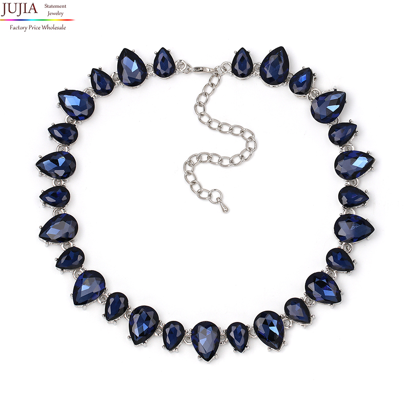 NEW High Quality full crystal necklaces fashion choker design chunky luxury collar crystal statement necklace for women rhinestone choker necklace 2017 luxury statement crystal chokers necklaces for women chunky neck accessories fashion jewellery