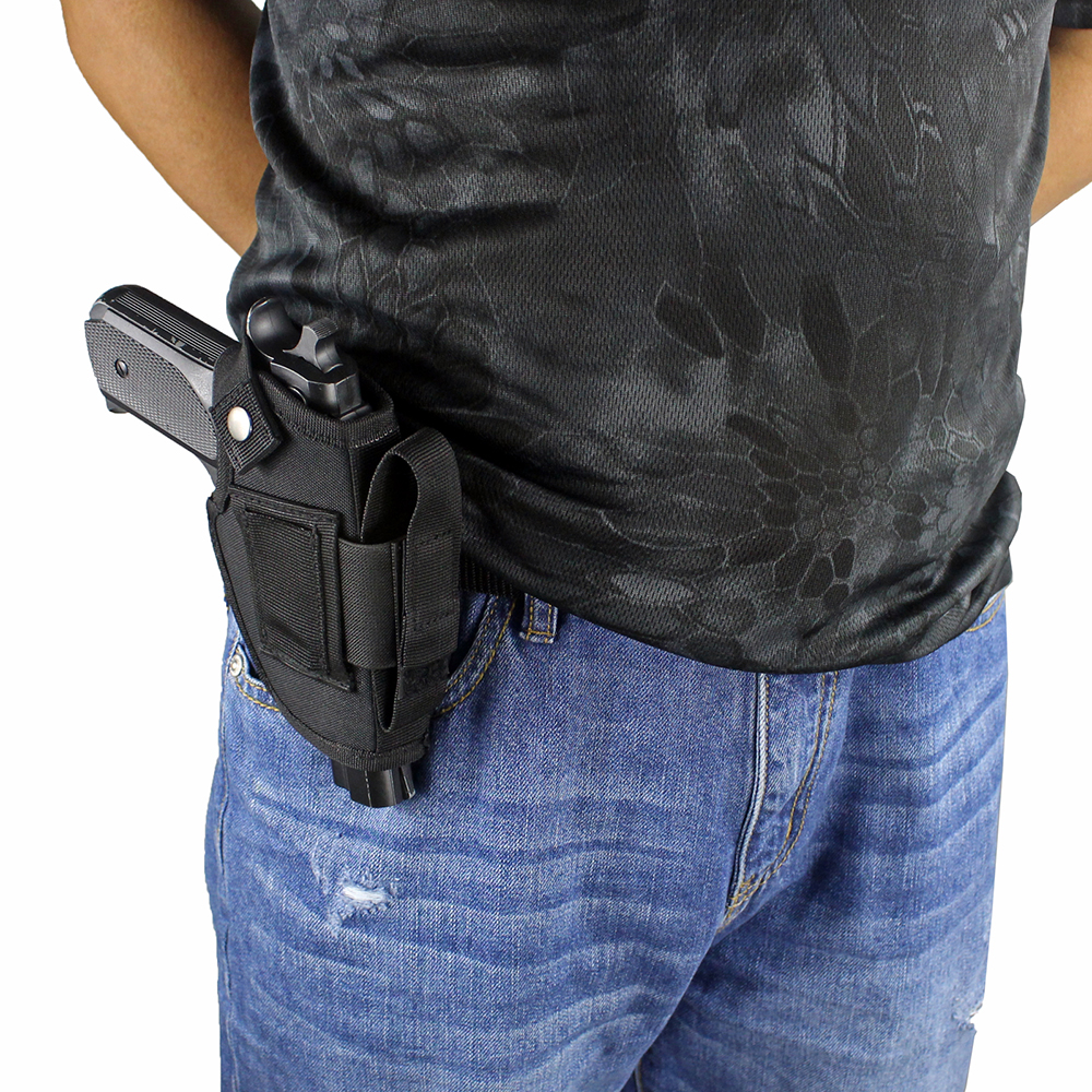 Concealed Carry Holster IWB OWB Pistol Gun Holster with Magazine Slot and Interchangeable Metal ClipConcealed Carry Holster IWB OWB Pistol Gun Holster with Magazine Slot and Interchangeable Metal Clip