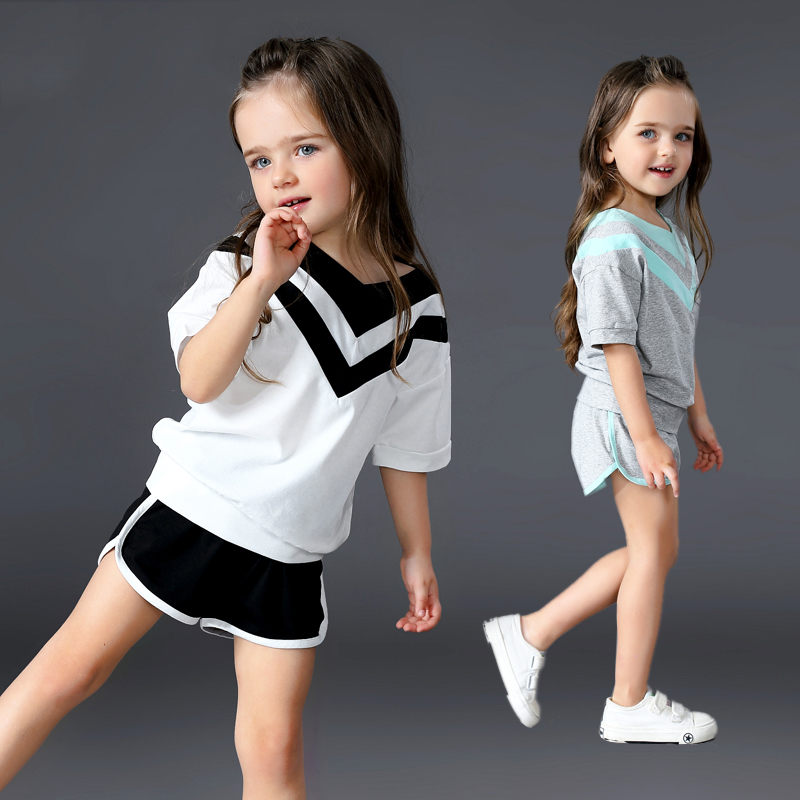 Brand New Summer Toddler Girls Clothing Sets Casual T-shirt + Shorts 2 Pcs Kid Suits Children Clothes Sets Pullovers And Pants dondup брюки капри