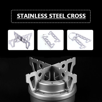 Stainless Steel Coal Rack Cross Bracket Alcohol Stove Accessories Durable Alcohol Stove Bracket Outdoor Parts Gas Stove Silver leg extension split machine