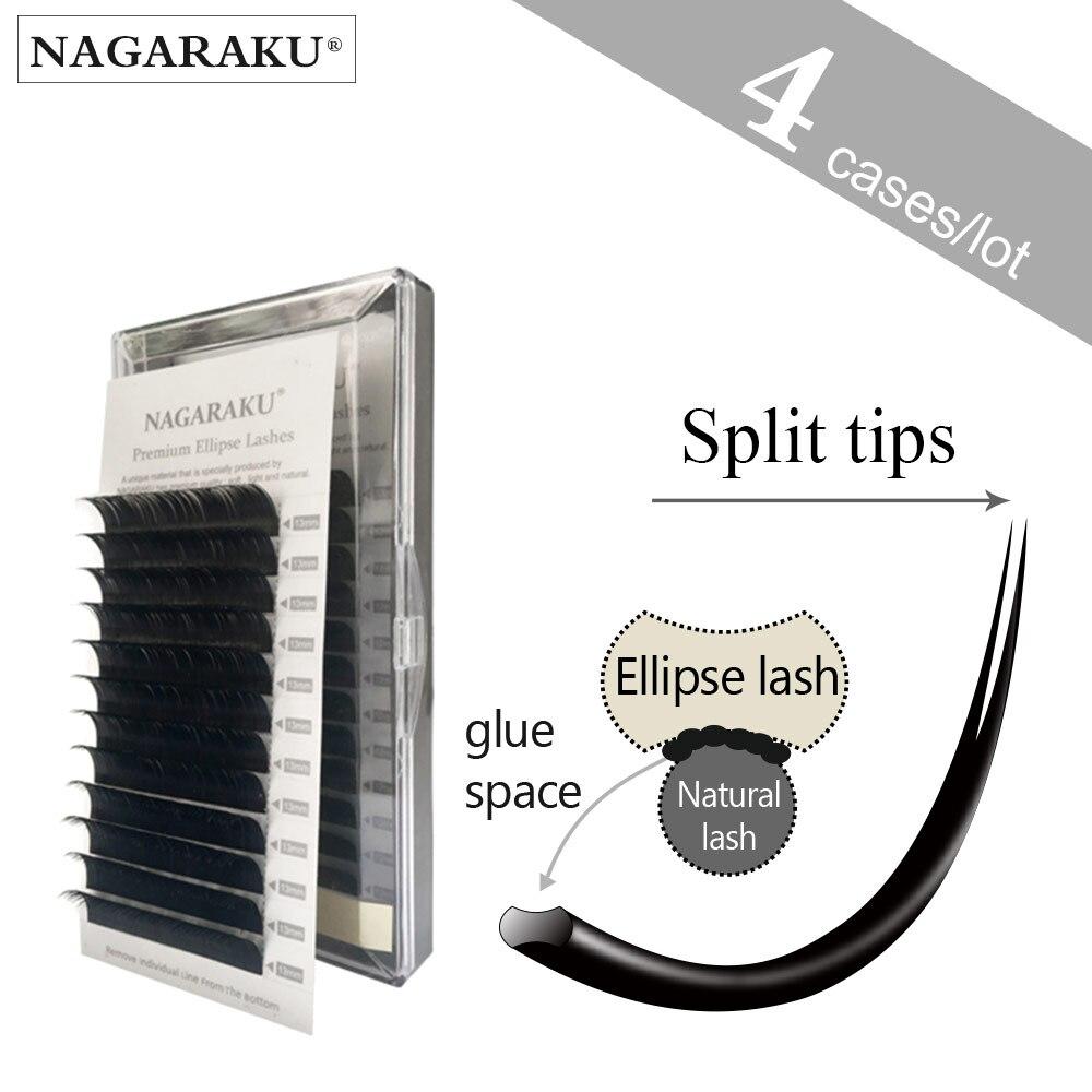 NAGARAKU 4 cases set,Saving Time,high-quality Ellipse Flat False Eyelash Extension,ellipse eyelashes,groove lashes.
