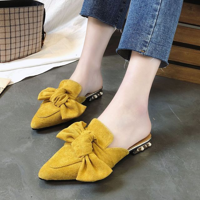 6b2873ac449 2018 Summer Women Flock Butterfly tie Flat Heels Shoes Spring Autumn Closed  toe Block Heels Sandals Slip on Pointed Toe Slippers