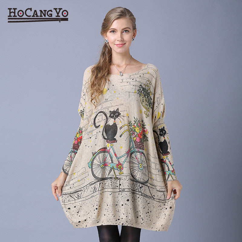 Women Casual Sweater Coats Batwing Sleeve Print Sweaters Pullovers Women Clothing Loose Casual Long Oversized Print