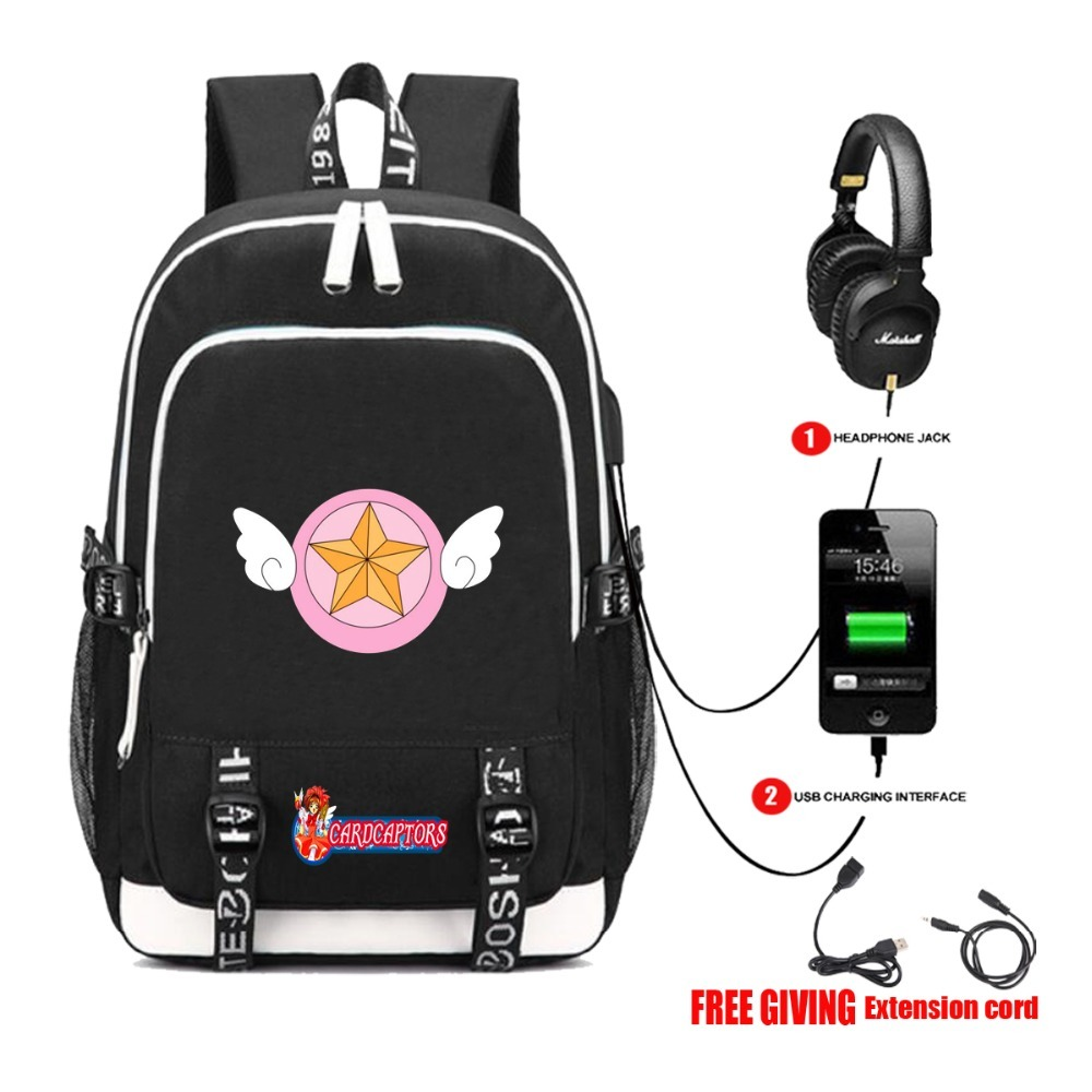 Students bookbag Men travel shoulder bag with USB Charging Headphone jack Backpack for anime Card Captor Sakura backpack 6 style anime card captor sakura the clow kero backpack girls shoulder bag pink cute travelling bag