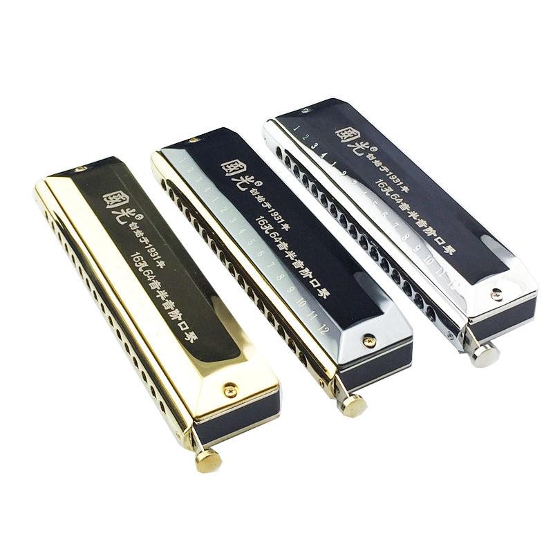 Guoguang 16 hole 64 tone half scale harmonica C harmonica, golden, silver, black circular arc mouthpiece. все цены