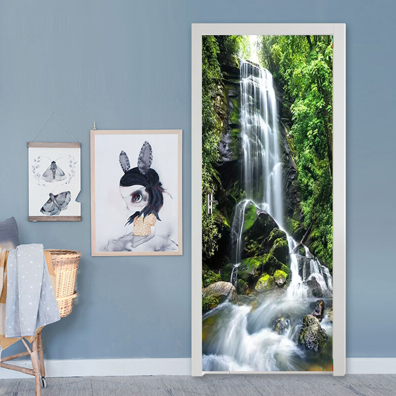 Beautiful Green Forest Waterfall Wall Door Sticker Self-adhesive Waterproof Wallpaper Decals Home Decor Door Wall Sticker Poster