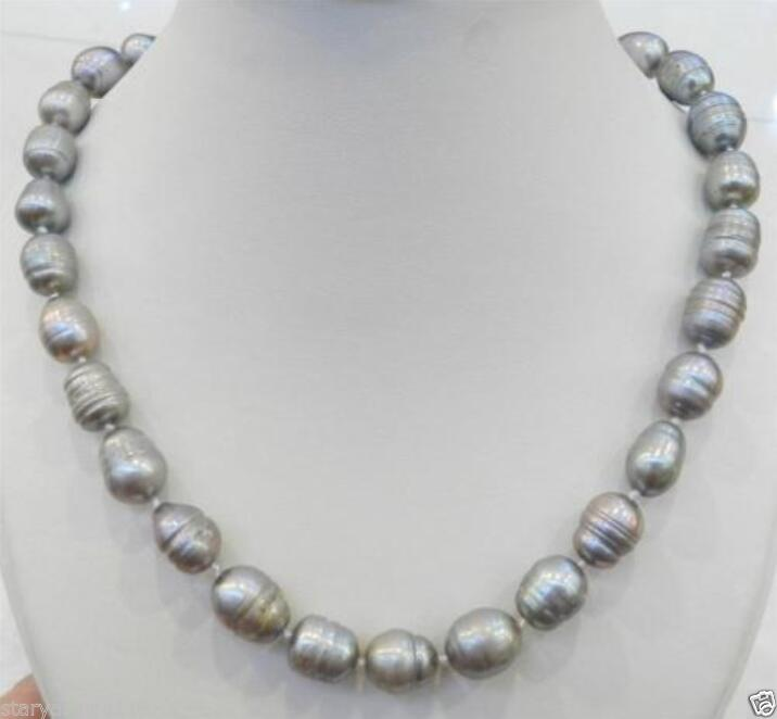 a093ecc447f5 ⊰10-12mm plata collar de perlas de agua dulce de arroz 18 AAA - a519
