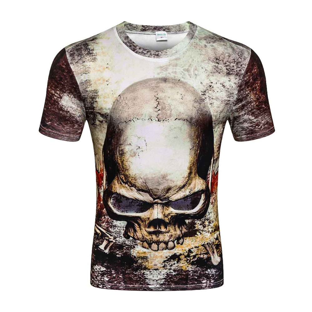 2017 nouveau décontracté hauts t-shirt harajuku été 3d t-shirts hip hop imprimé graphique crâne t-shirt 3d t-shirt pour hommes en gros