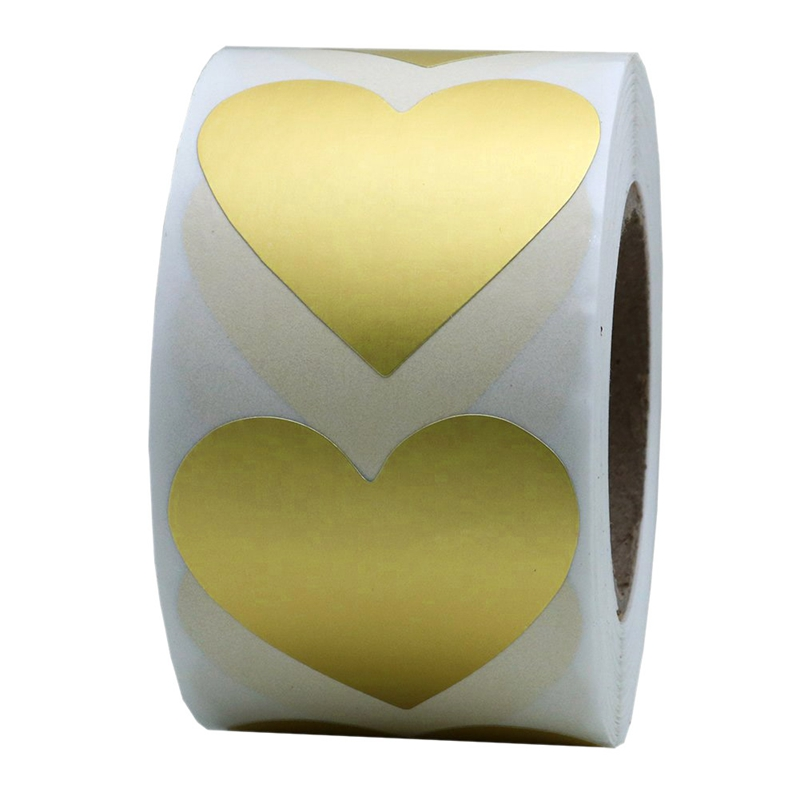 Gold Love Heart Stickers 1 Inch Adhesive Label 500 Per Roll (1 Roll) Hot Sale