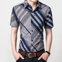 Men S Short Sleeved Shirt Men Shirt Slim Fit Tide Chemise Homme Spell Color Summer Thin