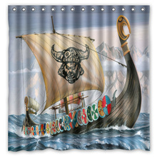 Bath Shower Curtains Viking Polyester-Fabric Printed Waterproof for The with 12-Hooks
