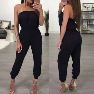 Jumpsuit Fashion Wide-Leg Summer Women Ladies Party-Trousers Off-Shoulder Casual Sleeveless