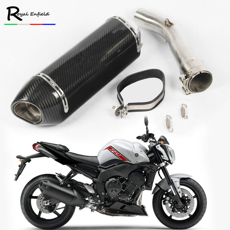 ID:60mm FZ1 Motorcycle Muffler Exhaust Link Pipe Mid Pipe Motorbike Exhaust Muffler Escape Connect Pipe for FZ1 FZ1N FZ1000 цена