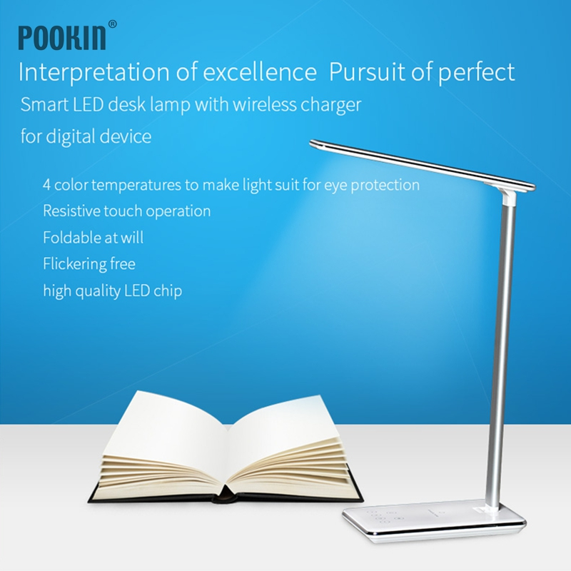 Newest Eye-friendly Four Color Temperature Book Light Touch Control LED Desktop Lamp Qi Wireless Charging for Mobile phone Newest Eye-friendly Four Color Temperature Book Light Touch Control LED Desktop Lamp Qi Wireless Charging for Mobile phone