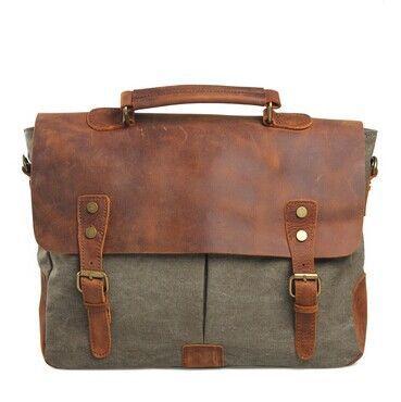 ФОТО 2017 New arrived canvas +genuine leather men messenger bag fashion men handbag bussiness briefcase bag New men travel bags WB692