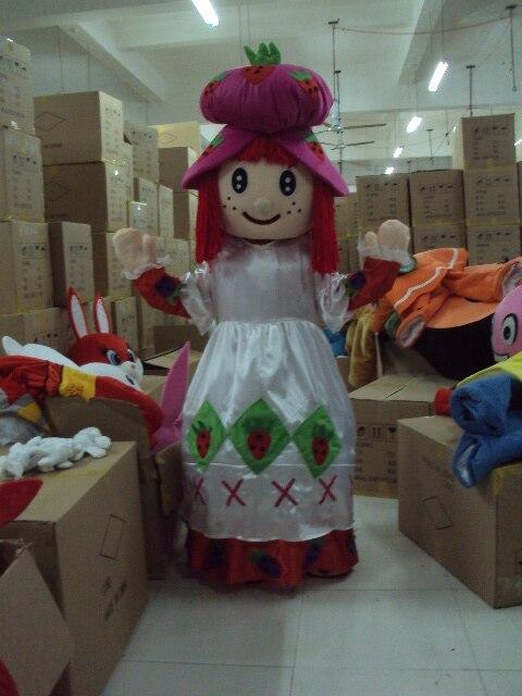 Милая розовая Клубничка девушка талисман костюм Mascotte Lassock с розовыми пушистыми волосами Белая Рубашка розовая юбка для взрослых