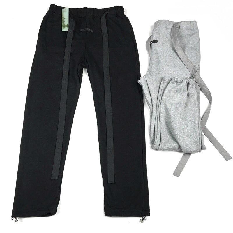 2019 hommes Nylon ceinture pantalons de survêtement en noir/gris de haute qualité Slim Fit pantalon en coton lourd Patch caoutchouté à l'avant