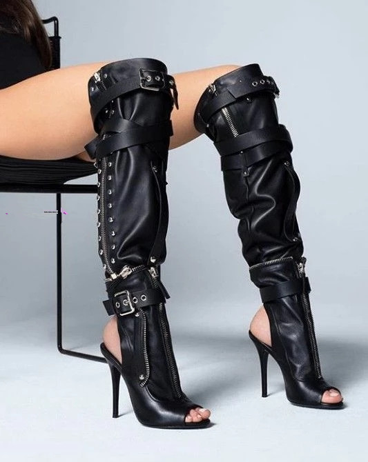Chaussures Femme Black Summer Leather Thigh High Heel Over The Knee Motorcycle Boots Peep Toe Zipper Punk Runway Shoes Woman Chaussures Femme Black Summer Leather Thigh High Heel Over The Knee Motorcycle Boots Peep Toe Zipper Punk Runway Shoes Woman