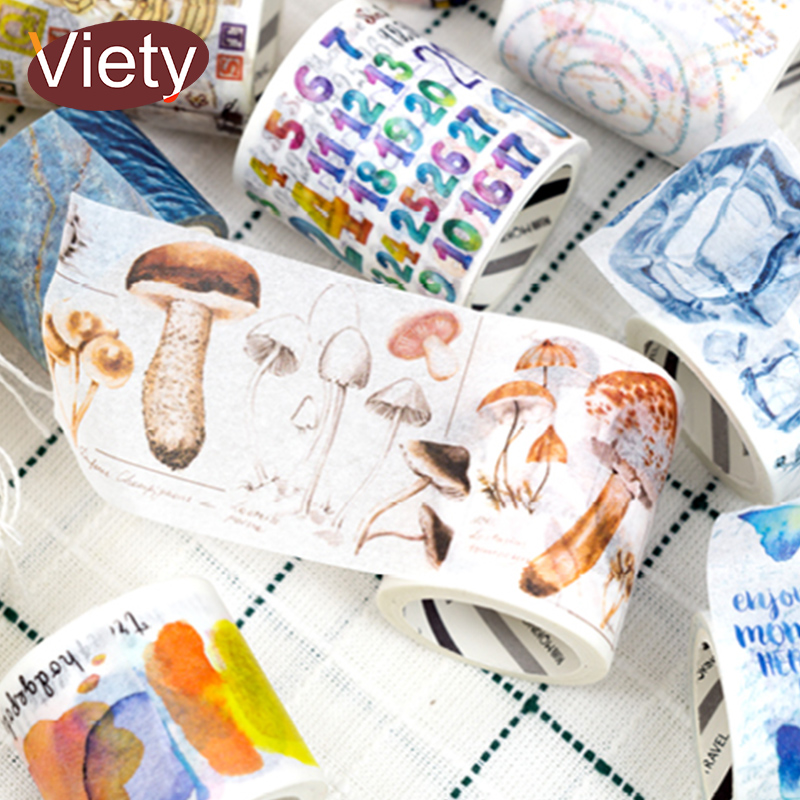 3-5cm*5m Vintage mushroom res color washi tape DIY decoration scrapbooking planner masking tape adhesive tape label sticker 1 5cm 5m vintage border diary decorative washi tape scrapbooking diy sticker adhesive tape masking tape office stationery