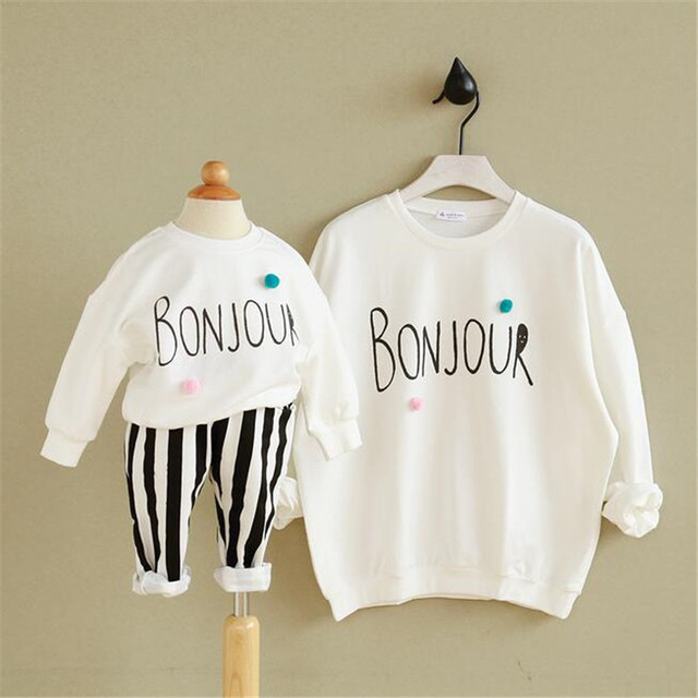 Family match shirt mother and daughter long sleeve autumn and spring shirt for mom and babies blouse t shirt
