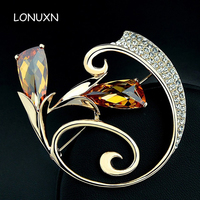 high quality female jewelry gold Austrian yellow crystal flowers shape brooch pins fashion Corsage girls lovers gift