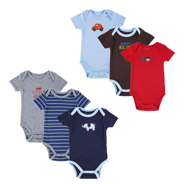 Newly 6 Pieces/Lot Newborn Short Sleeve Sets Bodysuit Roupa Bebe Boy Girl Layette Summer Clothes Infant Baby Boy Clothing Cotton