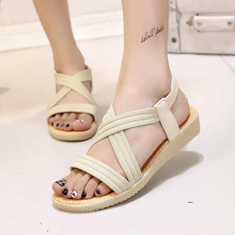 LAKESHI ボヘミア女性サンダルフラットシューズ夏女性の靴のファッションローマカジュアルグラディエーターサンダルをプ靴の女性のサンダル