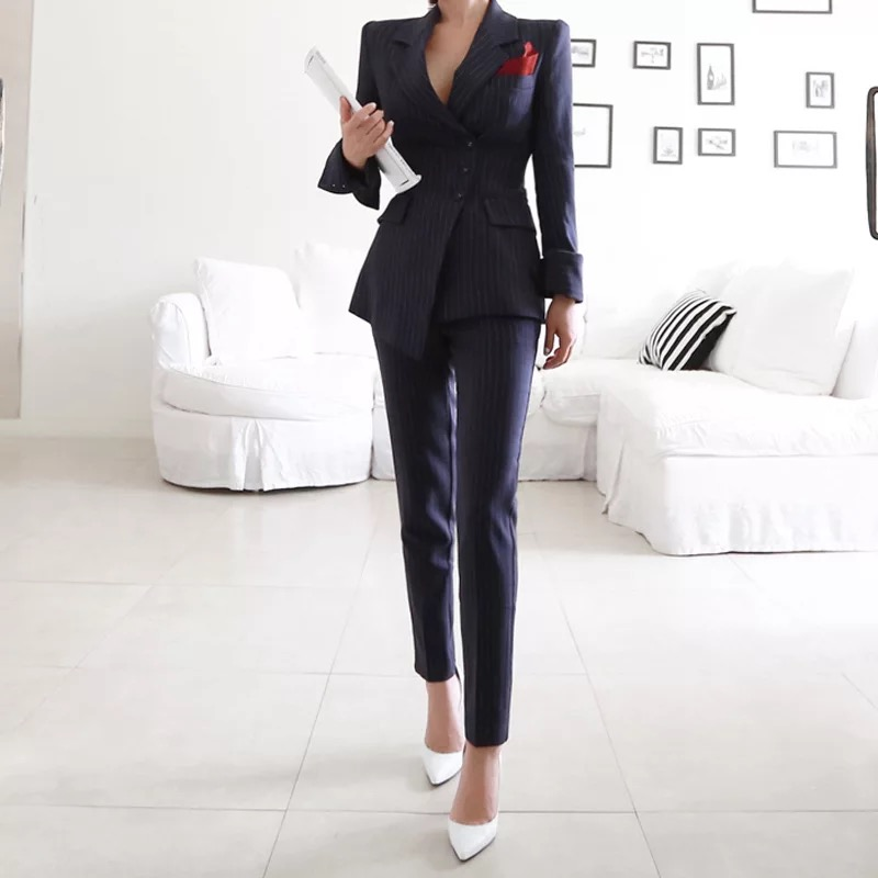 New Fashion Autumn Women Single Breasted Asymmetrical Suit High Quality Temperament Striped Color Slim Pant OL Two-piece Set