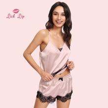 Lick Lip Strap Nightwear Lace Trim Satin Cami Top Pajama Sets Female Lounge  Wear Pant Set Spaghetti Strap Lace Suits SWC2992-47 f71f2ade9